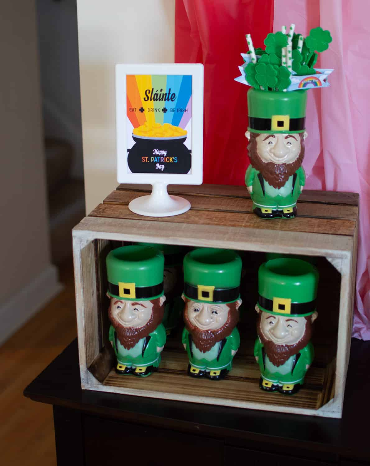 Leprechaun Loot Drink Station with leprechaun cups from Oriental Trading