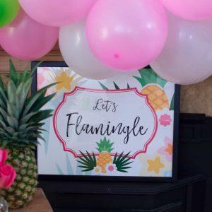 Lets flamingle pineapple party backdrop