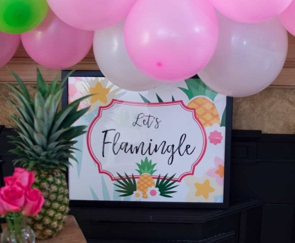 Lets flamingle pineapple party backdrop