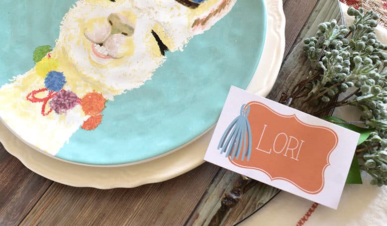 Free Southwest Style Place Cards from Elva M Design Studio. Styling in image by Giggle Home Furnishings.