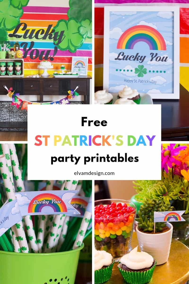 Throw a St. Patrick's Day party with these free Lucky You theme party printables from elvamdesign.com