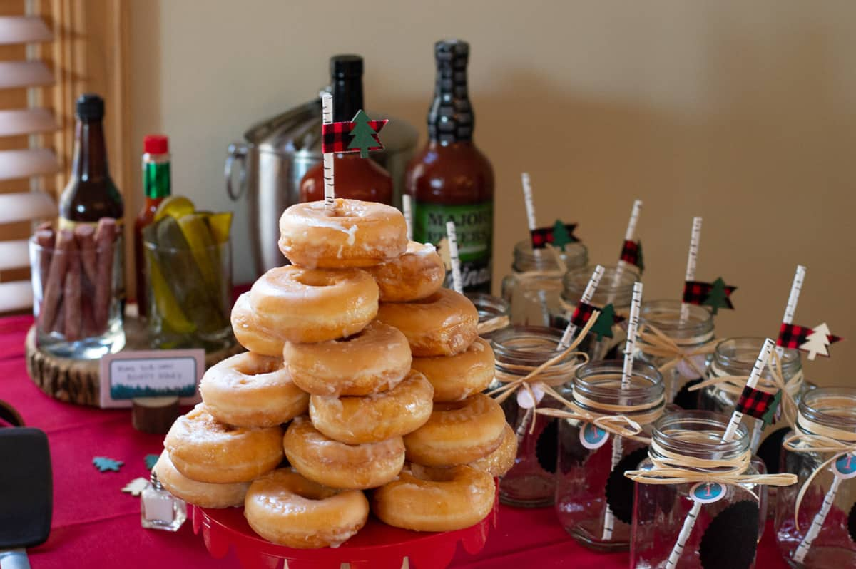 Lumberjack donut tower and bloody mary bar