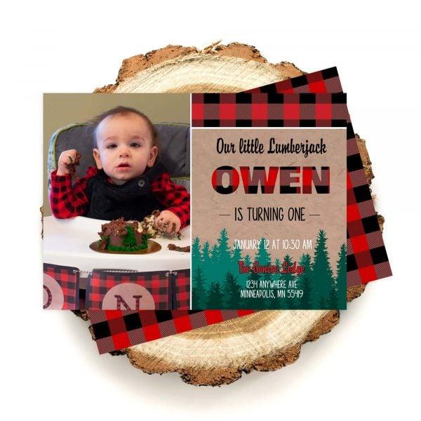 lumberjack photo invitation