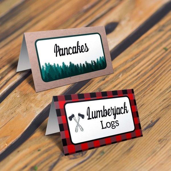 lumberjack tent cards