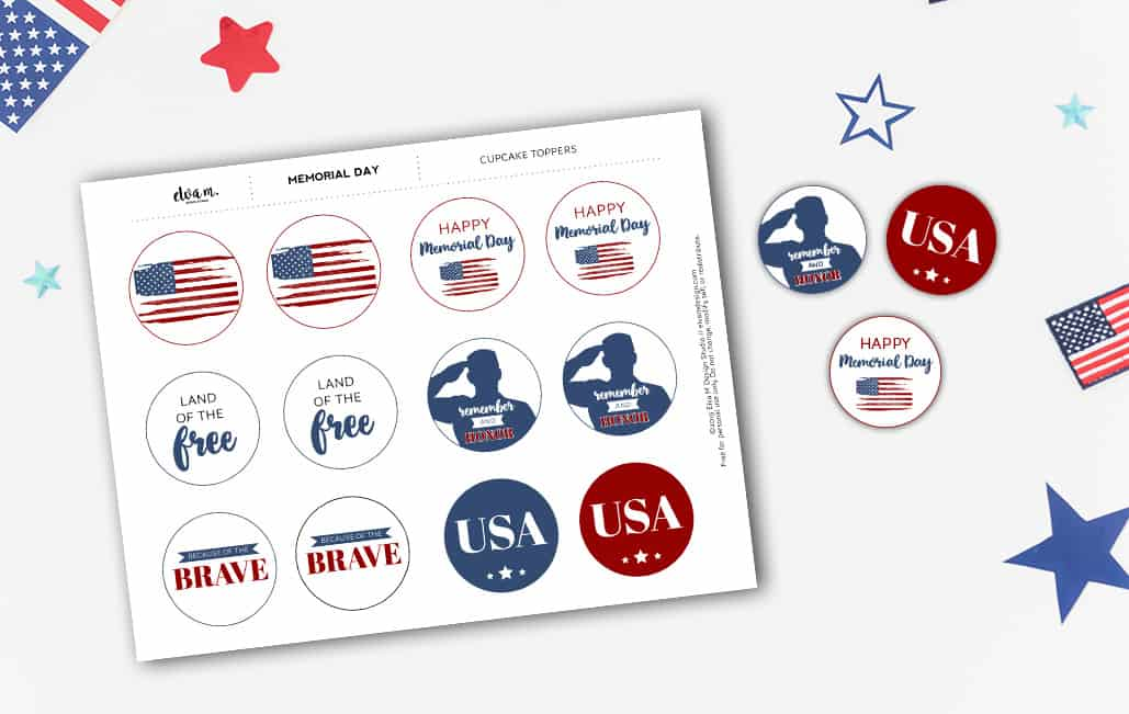Memorial Day Cupcake Toppers