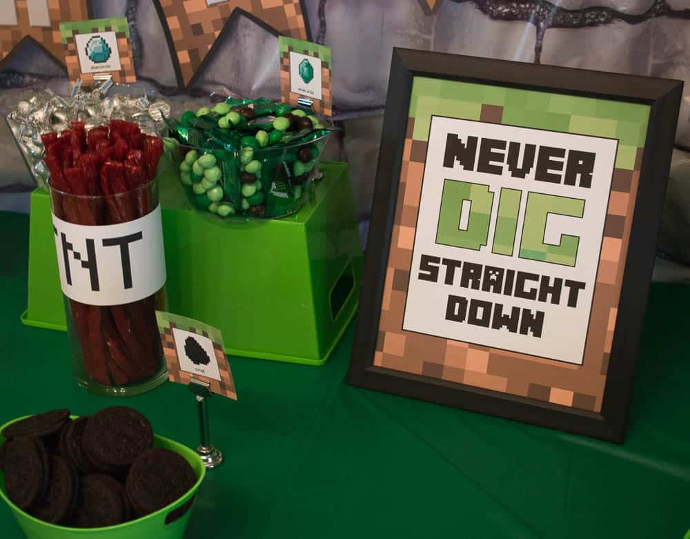 Minecraft party sign and food ideas