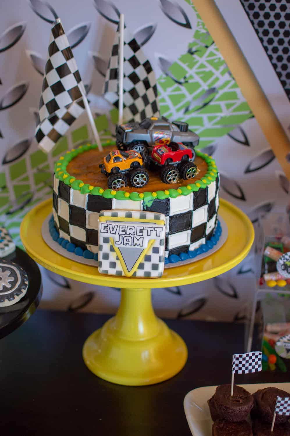 Checkered flag birthday cake
