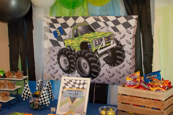 Monster Truck Party Backdrop