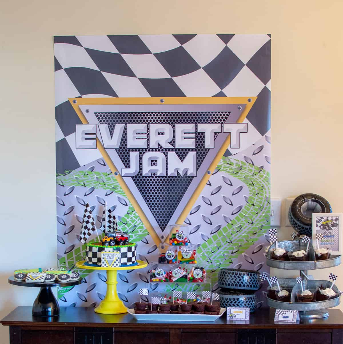 Monster Jam party dessert table
