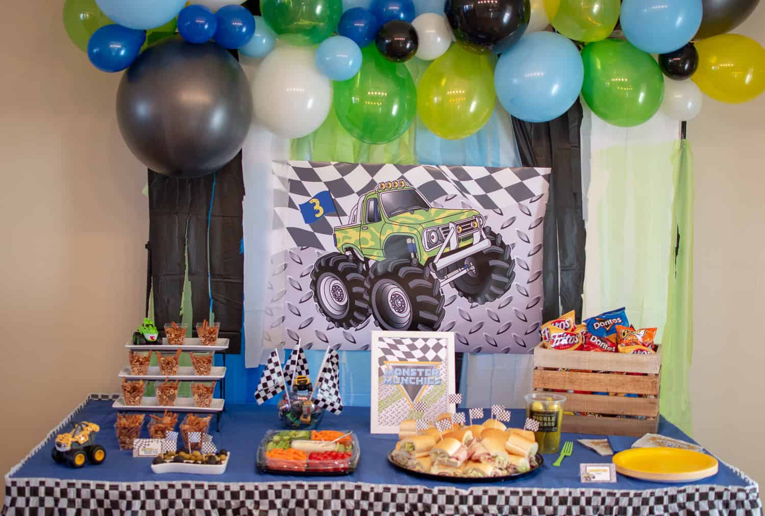 Monster Truck Party Food Table styled by Elva M Design Studio