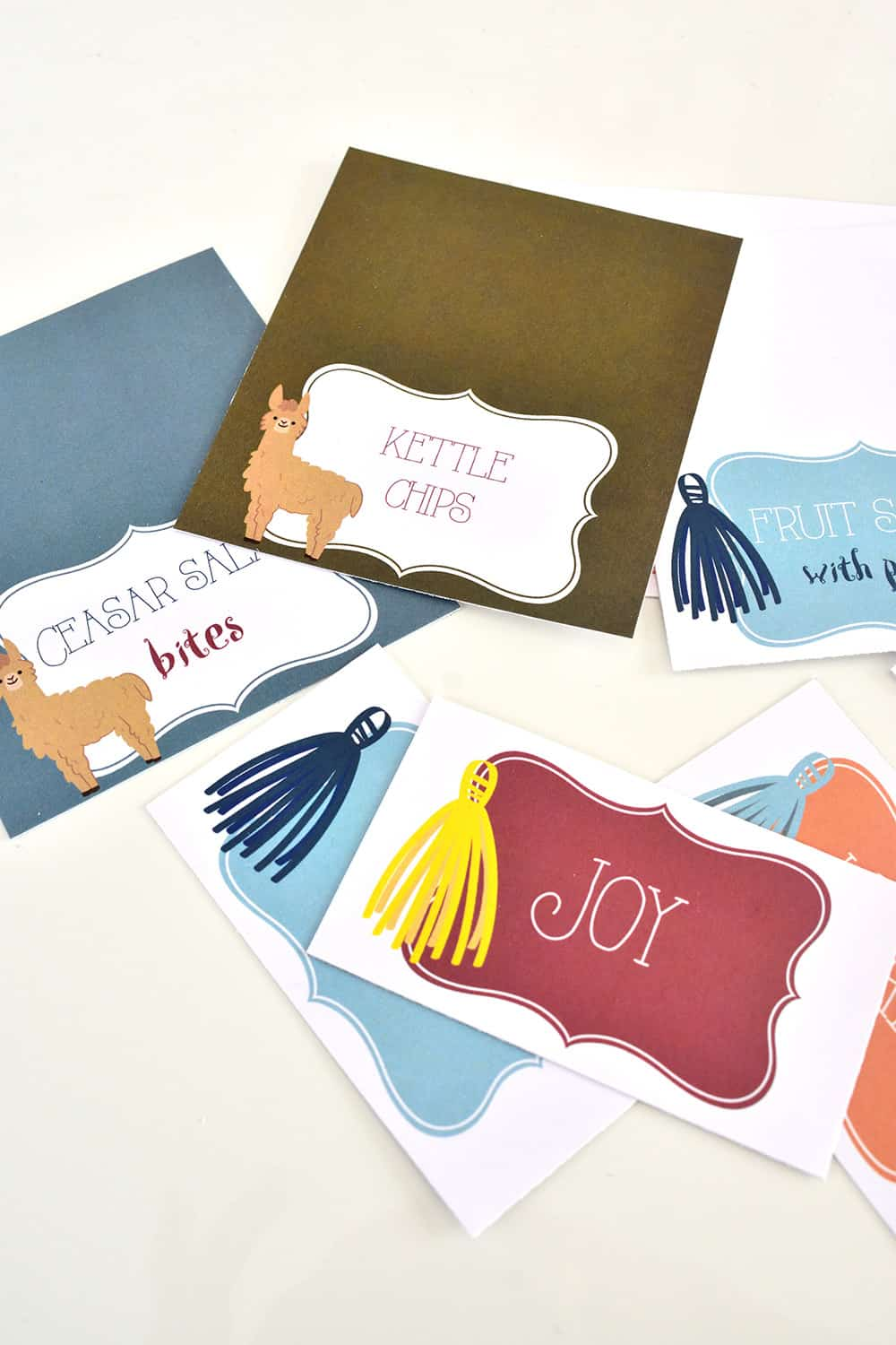 Printed place cards and food tent cards