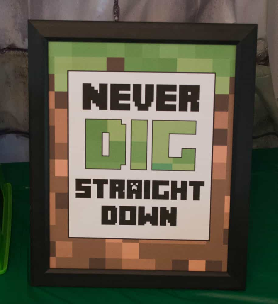 Never Dig Straight Down Minecraft Sign