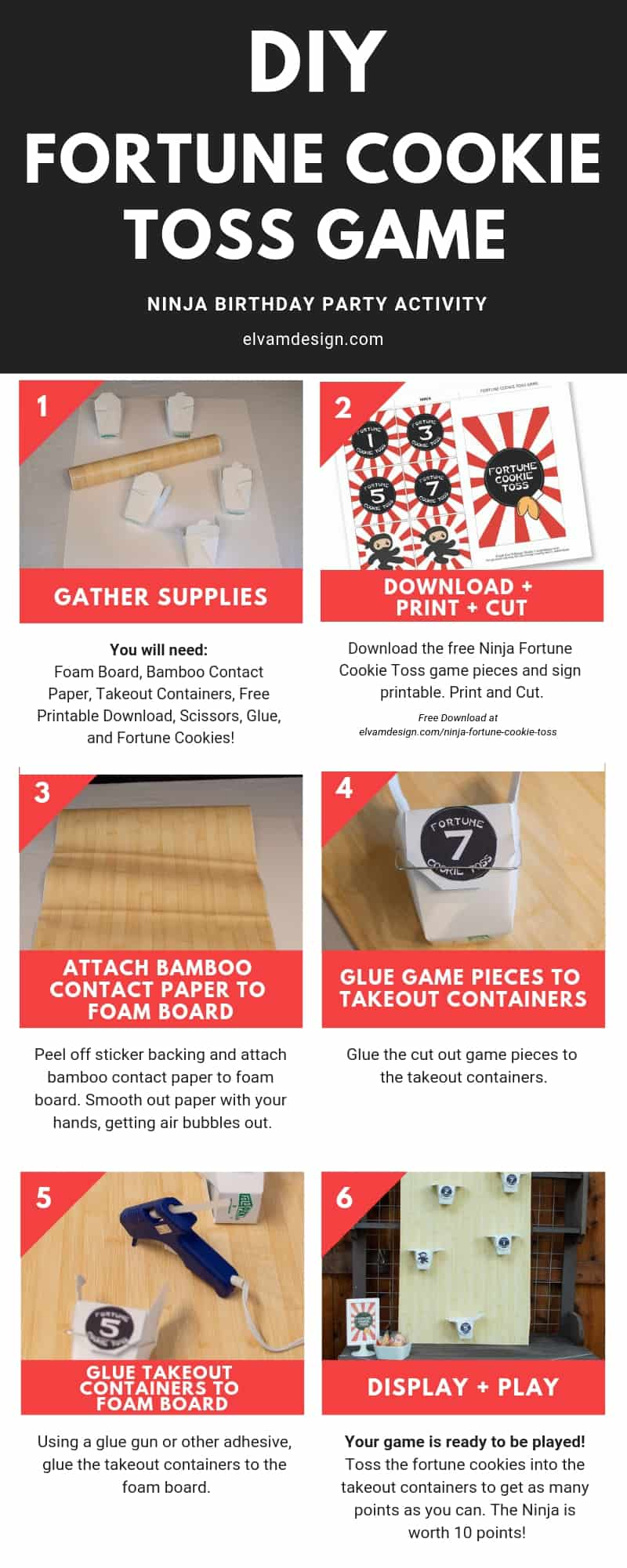 Follow this tutorial to make your own DIY Fortune Cookie Toss Game, the perfect activity for a Ninja-themed birthday party. Free download at elvamdesign.com
