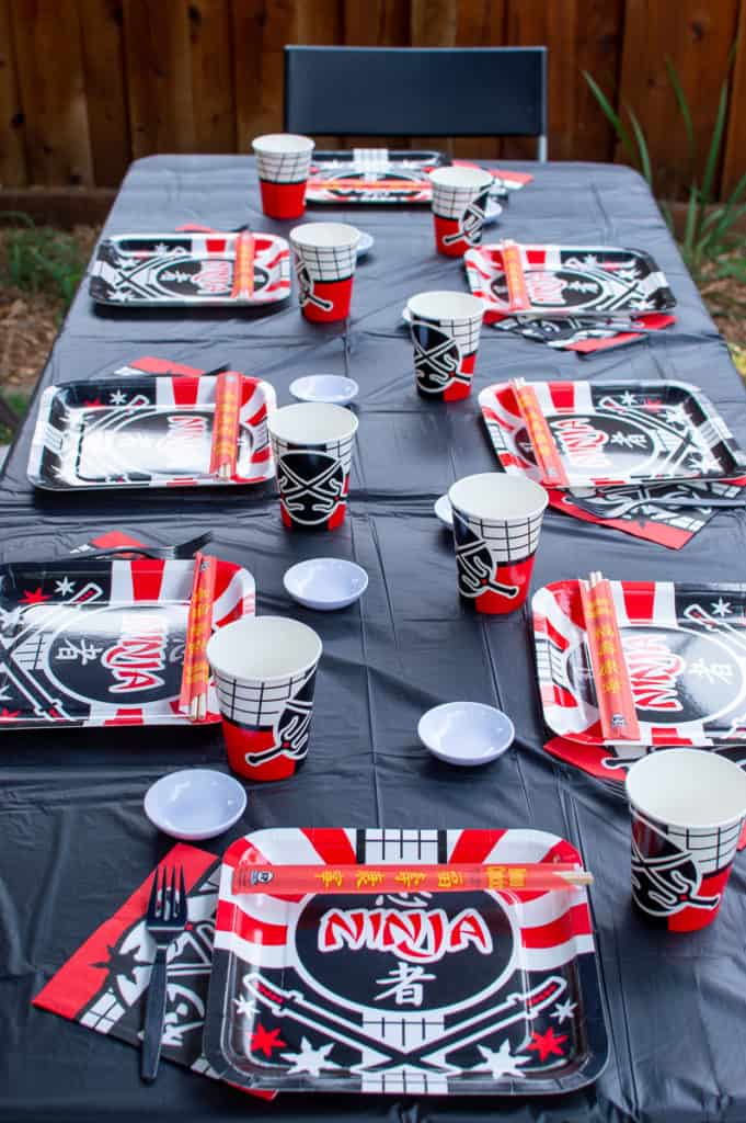 Ninja Birthday Party Table with Oriental Trading party supplies