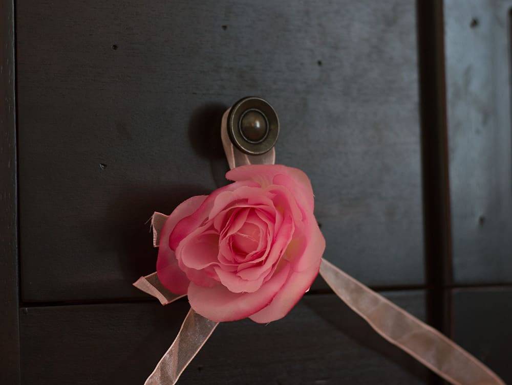 Closeup of Pink Rose Garland by Oriental Trading