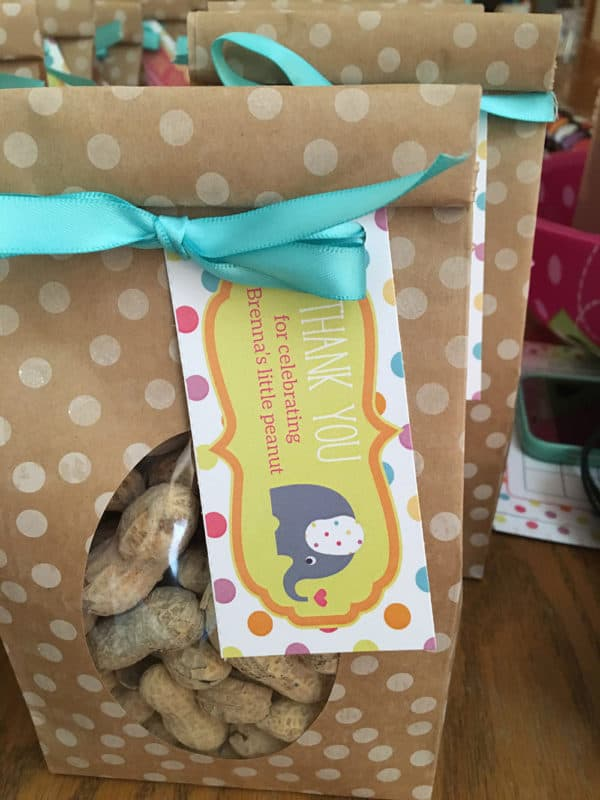 Peanut Baby Shower Favor Tag for an elephant themed baby shower