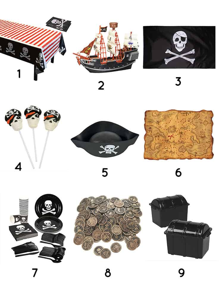 Products to throw a Pirate Party on a budget of $75. Decor ideas and links available on elvamdesign.com.