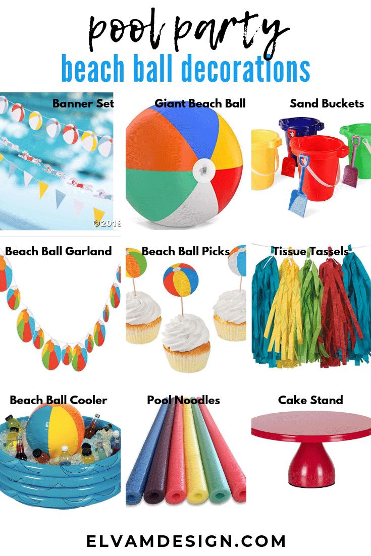 Beach Ball pool party decor