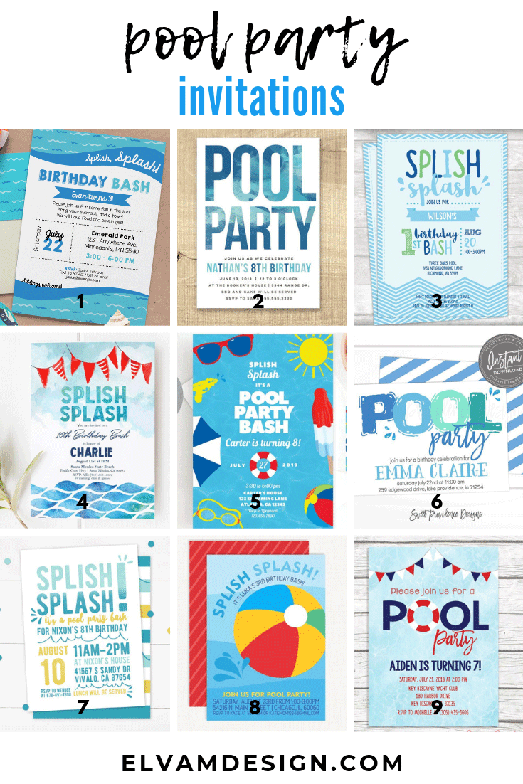Pool Party Birthday Party Invites