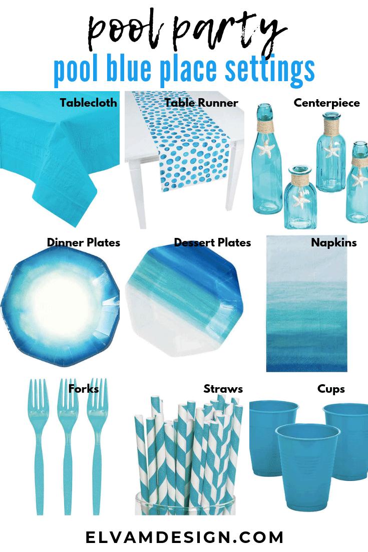 Pool blue Table setting ideas