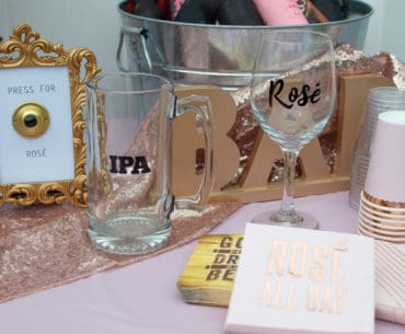 Press for Rosé DIY Party Decor and Bride and Groom Beverage Glasses