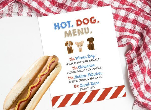 puppy party hot dog bar sign
