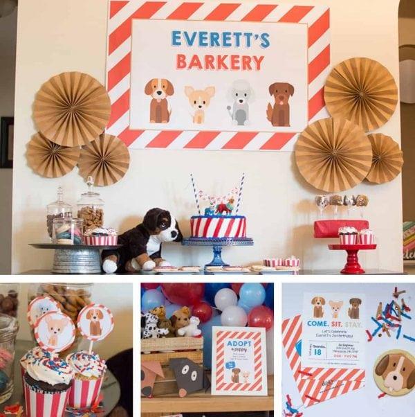 Puppy Party Printable Set from Elva M Design Studio