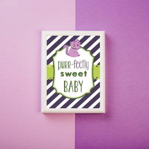 purr-fectly sweet kitten baby shower sign