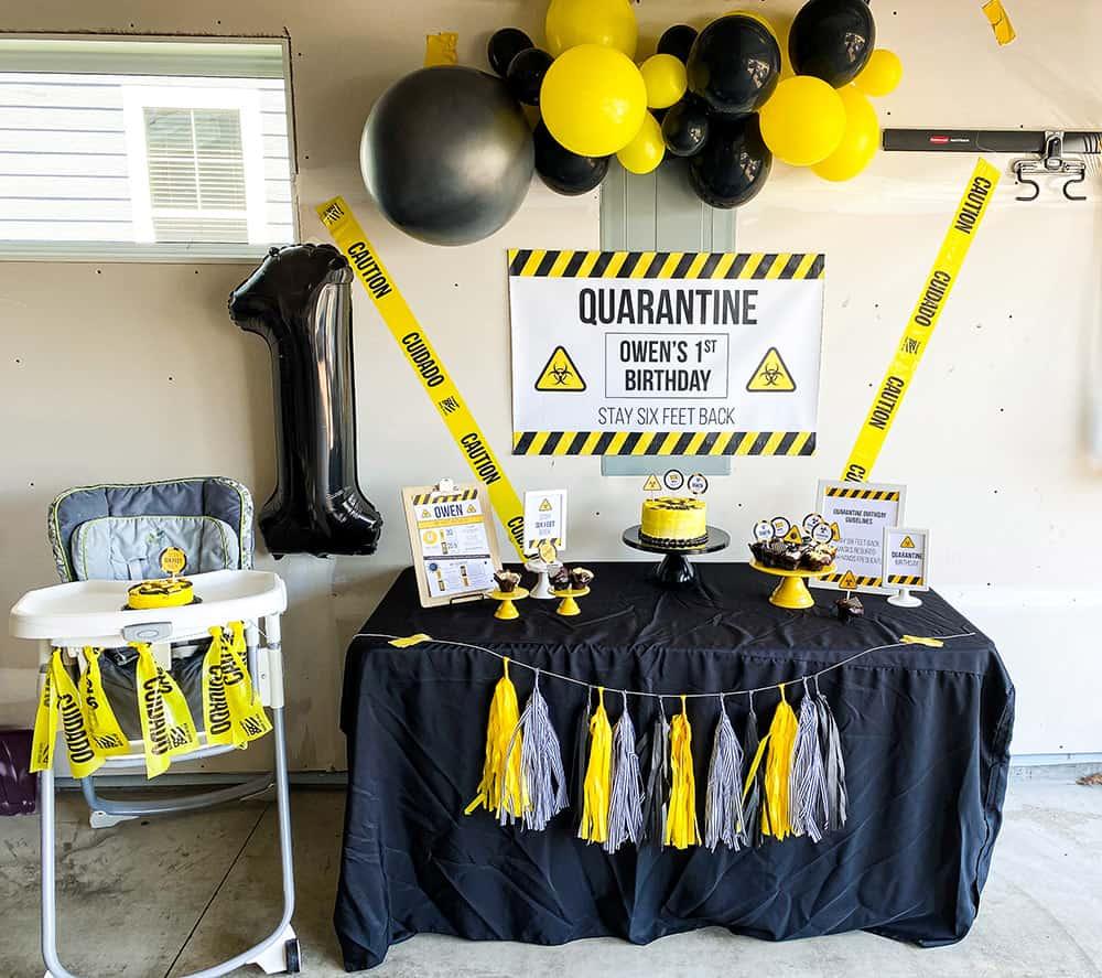 quarantine birthday dessert table