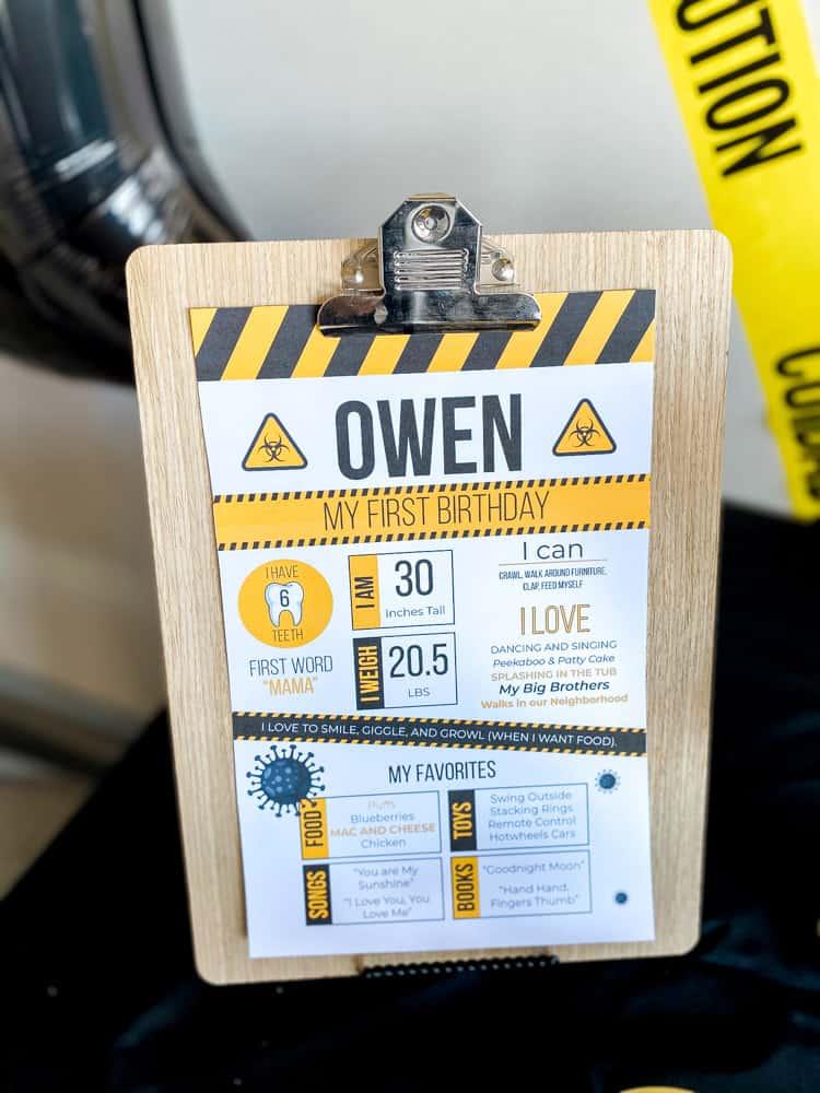 Quarantine First Birthday Stats Poster
