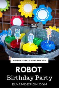 Robot Birthday Cupcakes