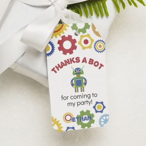 robot party favor tag