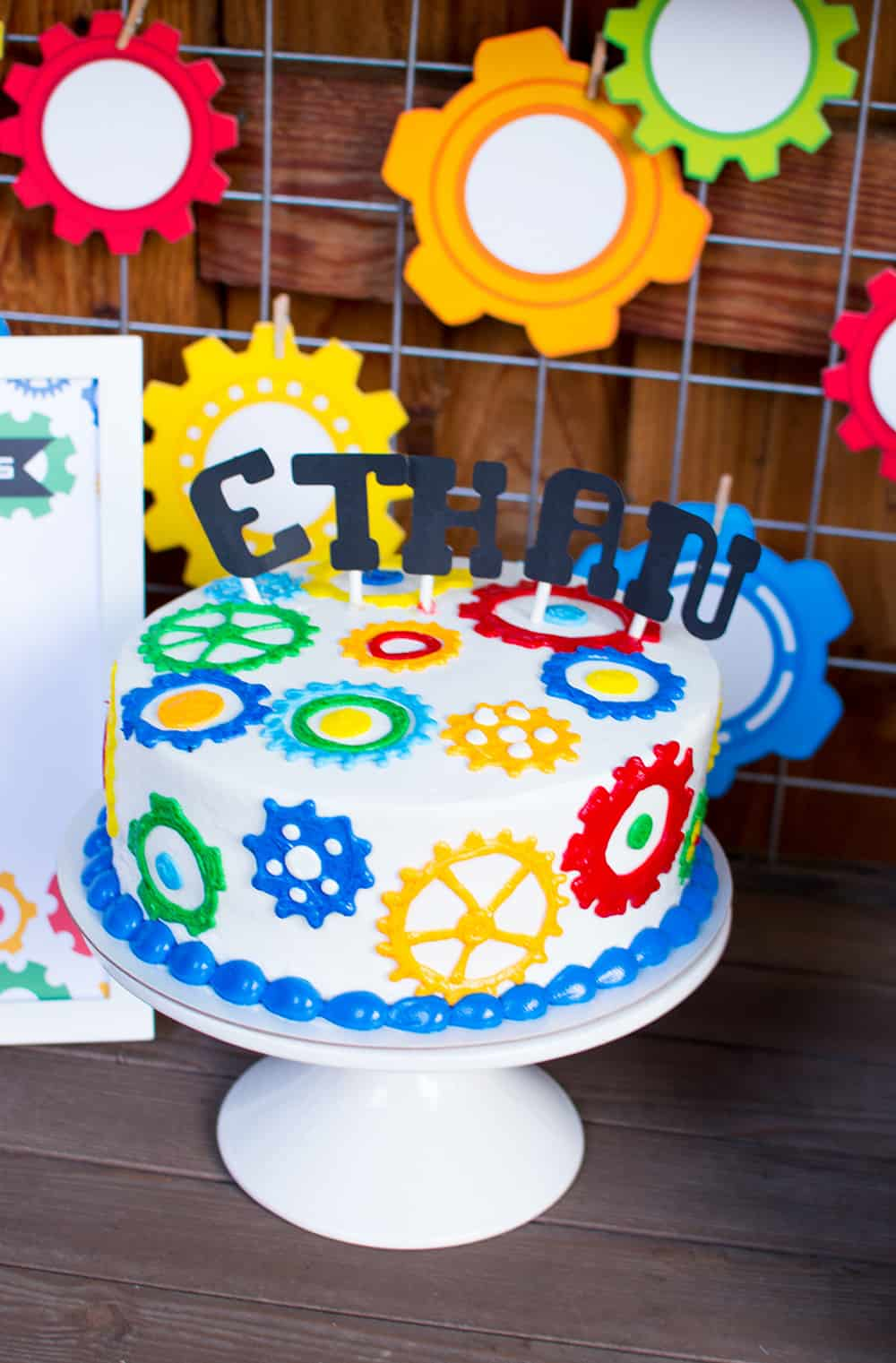 Robot gear birthday cake