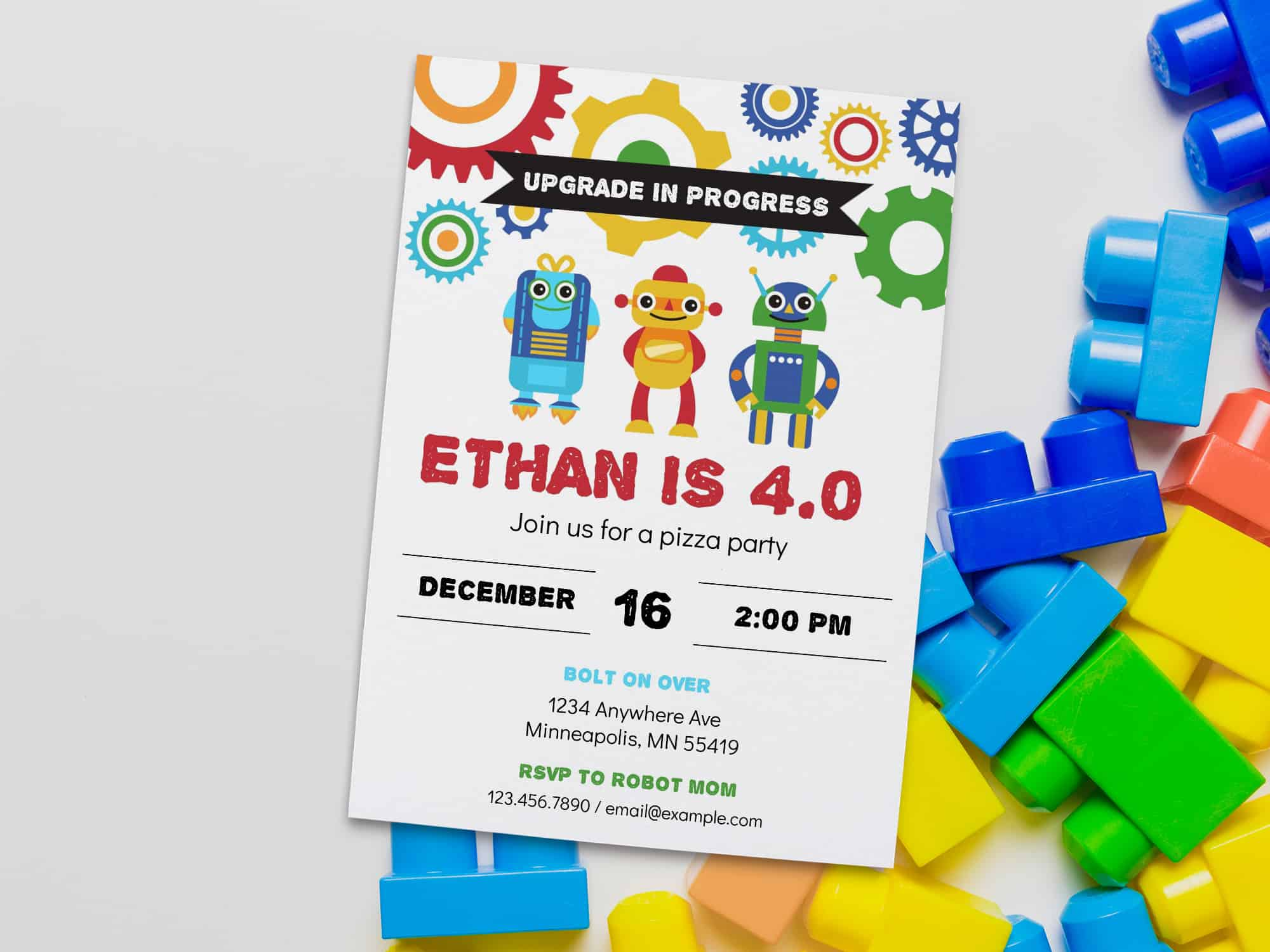 robot birthday invite