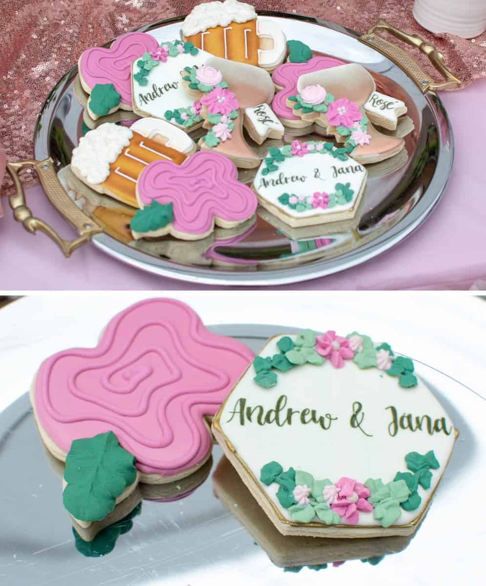Custom Rosé and Beer themed Sugar Cookies from The Polka Dot Cookie