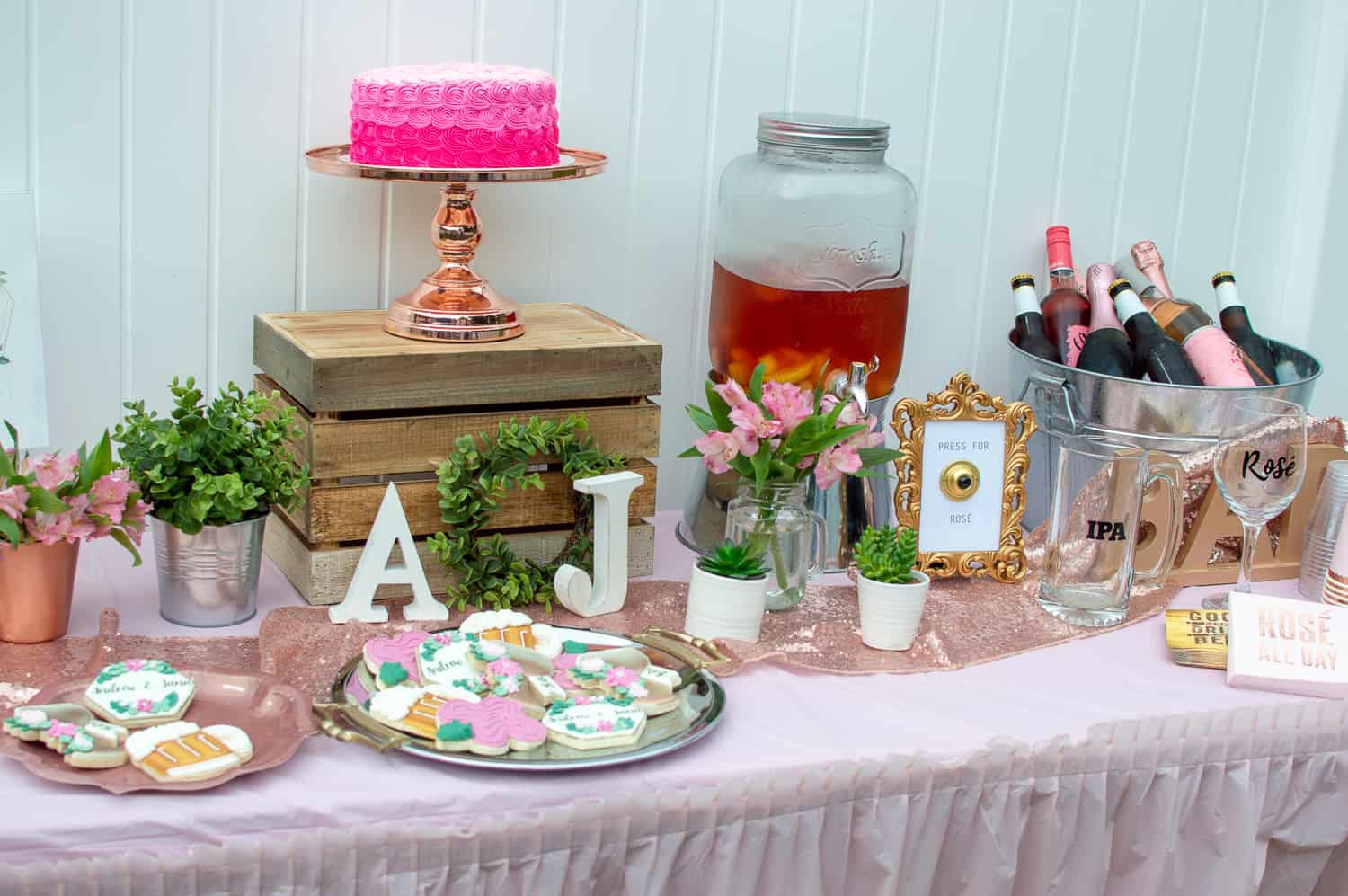 Rosé and IPA Wedding Shower Dessert and Drinks Table