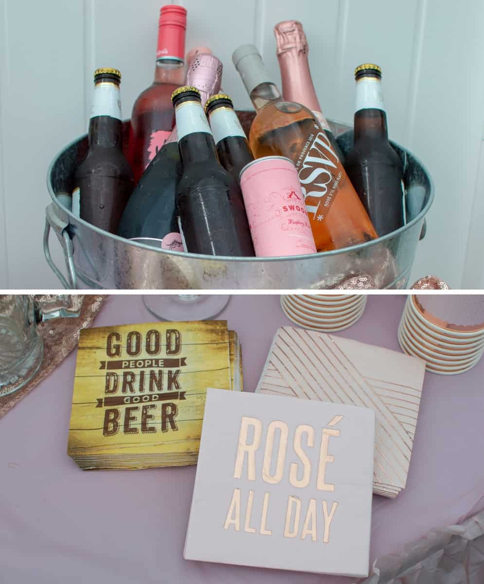 Beverage tub filled with Rosé wine and beer