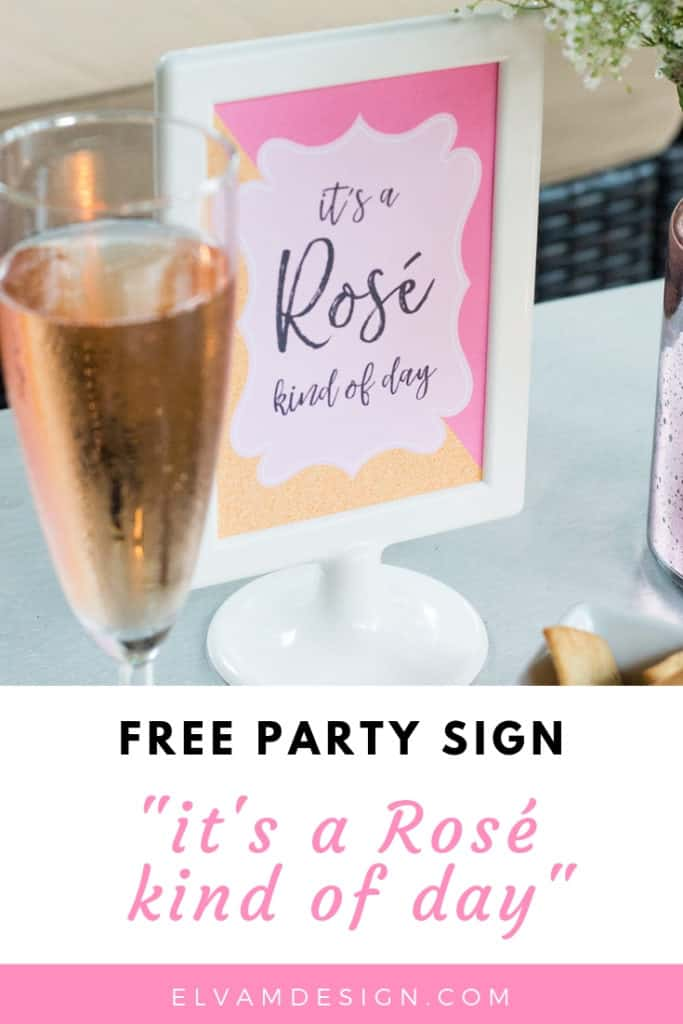 Free Rosé Wine Party Sign