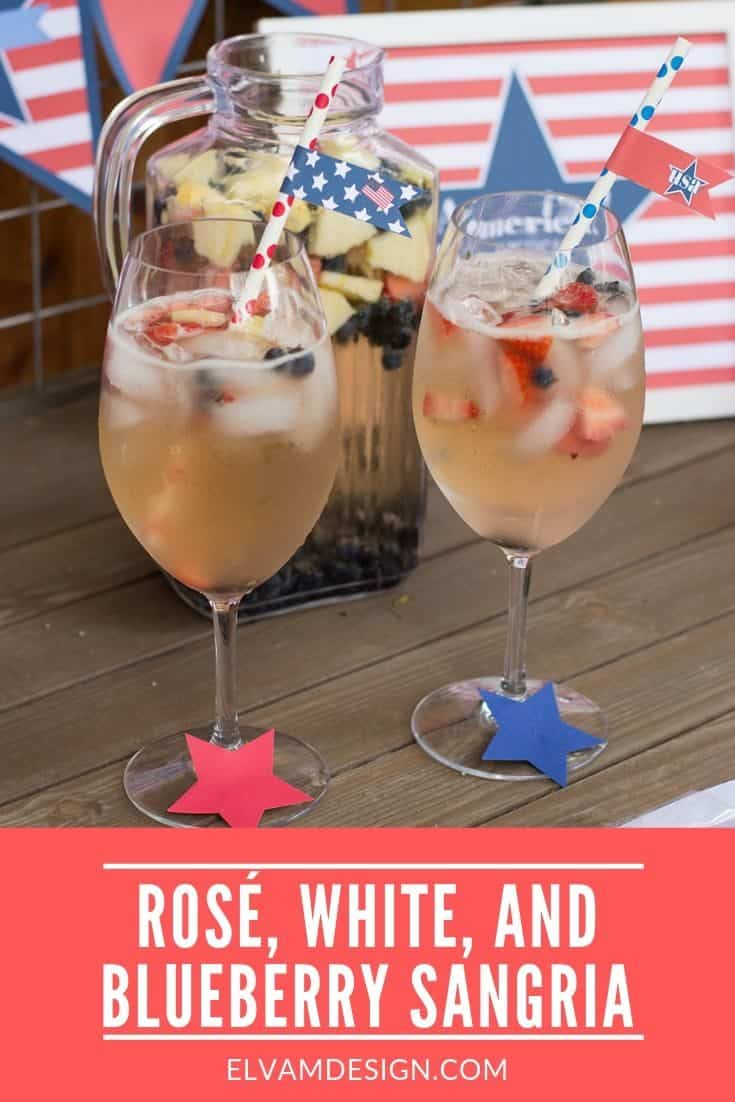 This Rosé, White, and Blueberry Sangria is a perfectly patriotic and refreshing combination. Get the recipe at Elvamdesign.com #4thofJuly #sangria #cocktail