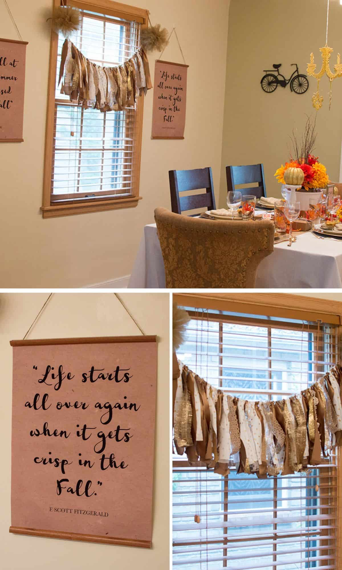 Rag Ribbon Banner and Printable Dining Room Decor