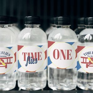 Time Flies First Birthday Water Bottle Labels