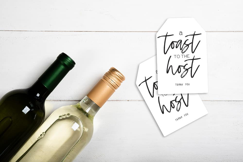 DIY hostess gift tags and wine