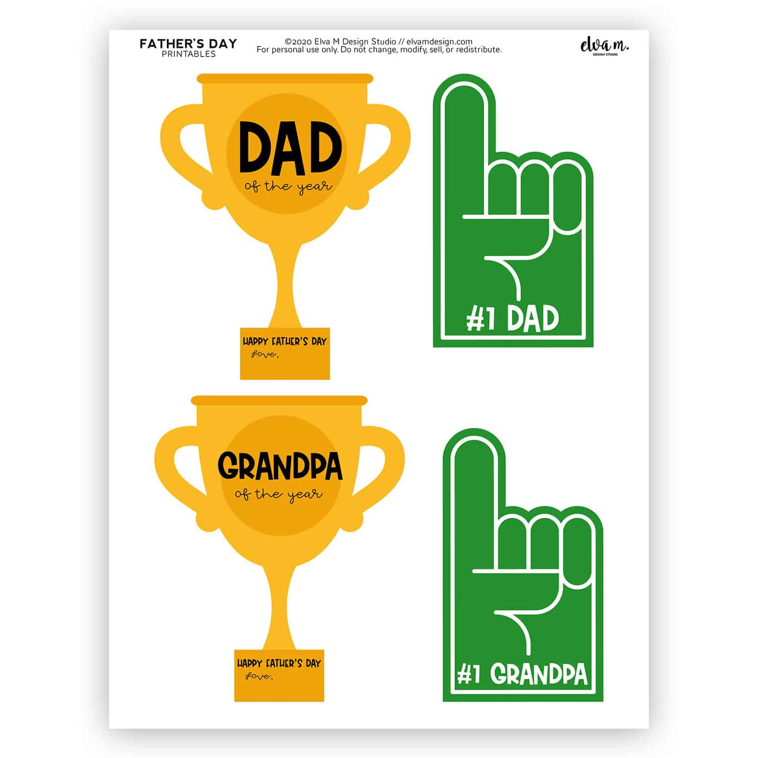 Dad of the Year Father's Day printable