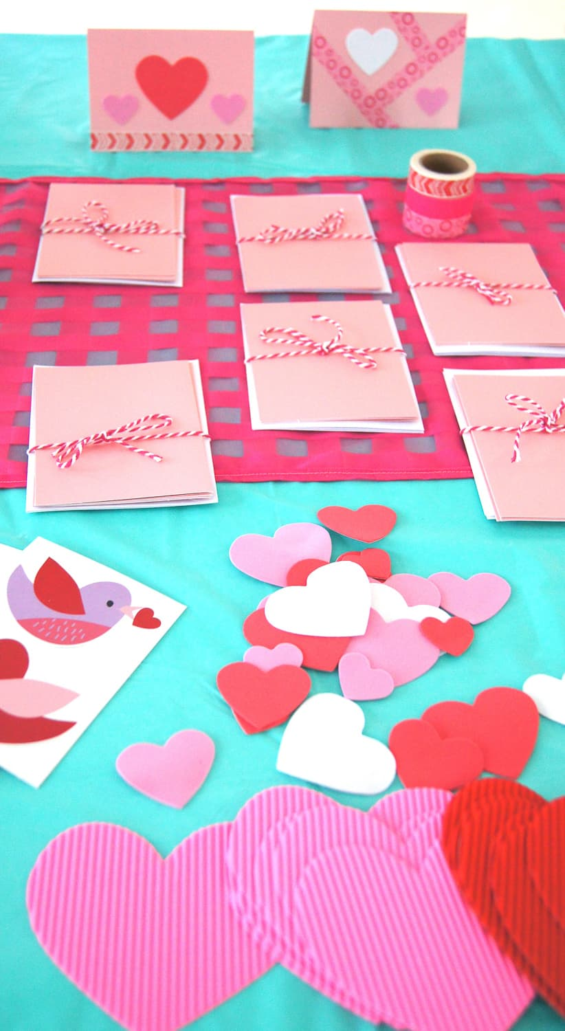 Supplies to create Valentine's Day Cards