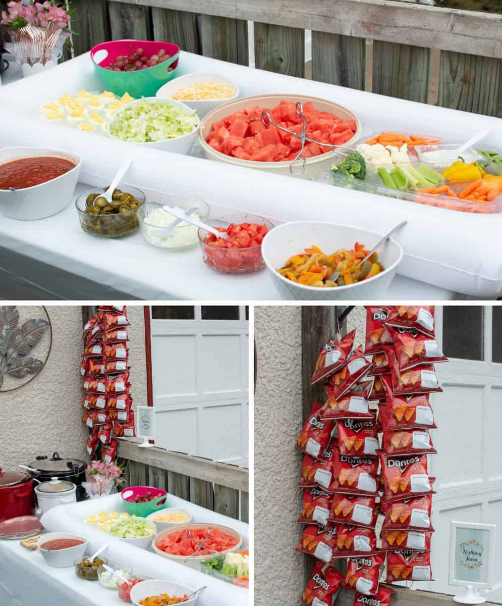 Display a Walking Taco Bar in a fun way by hanging up the chips and having lots of toppings for guests