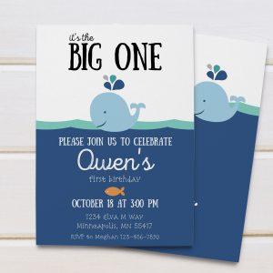 whale birthday invite
