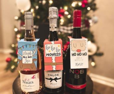 free Christmas wine hang tags