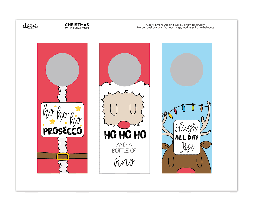 Holiday hang tags for wine