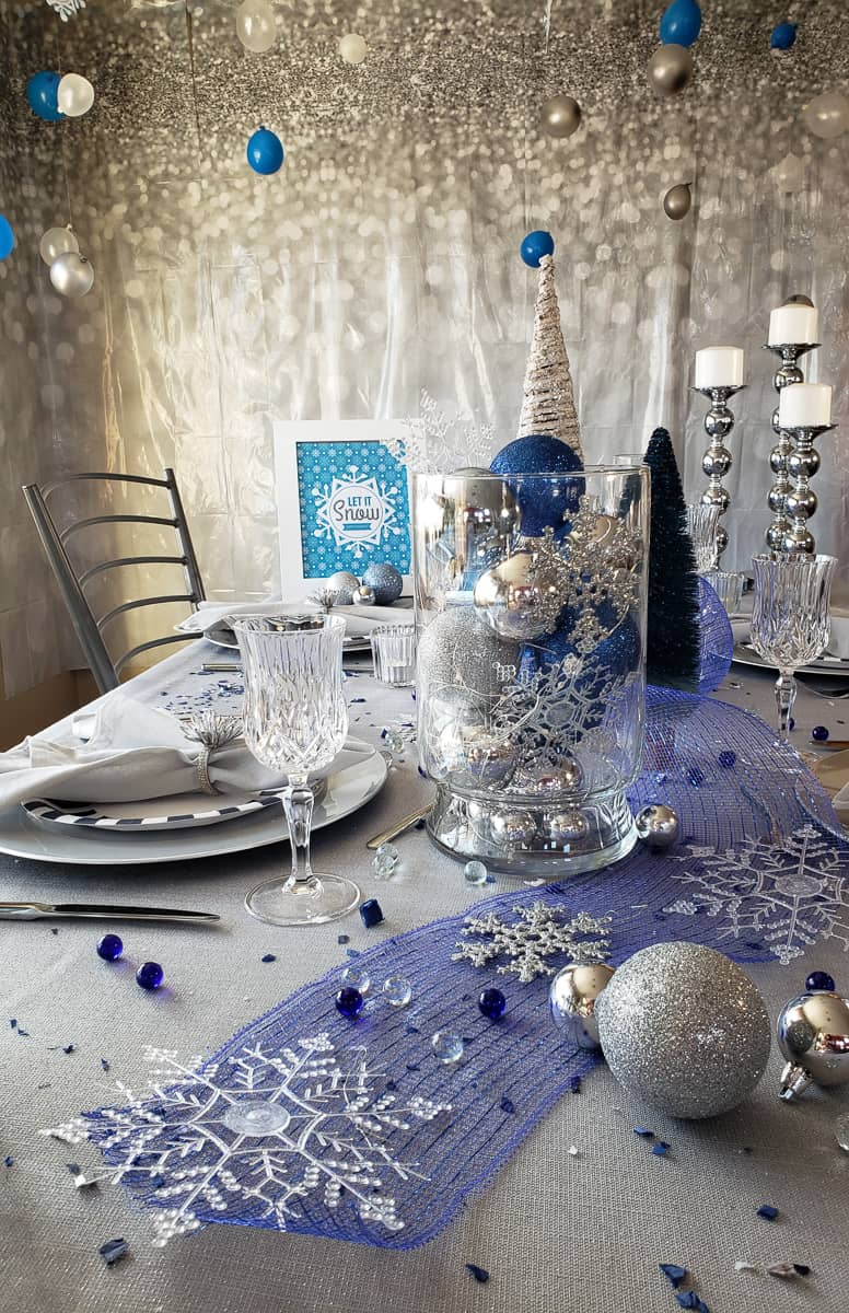 Set a Winter Wonderland tablescape for your Let it Snow holiday party